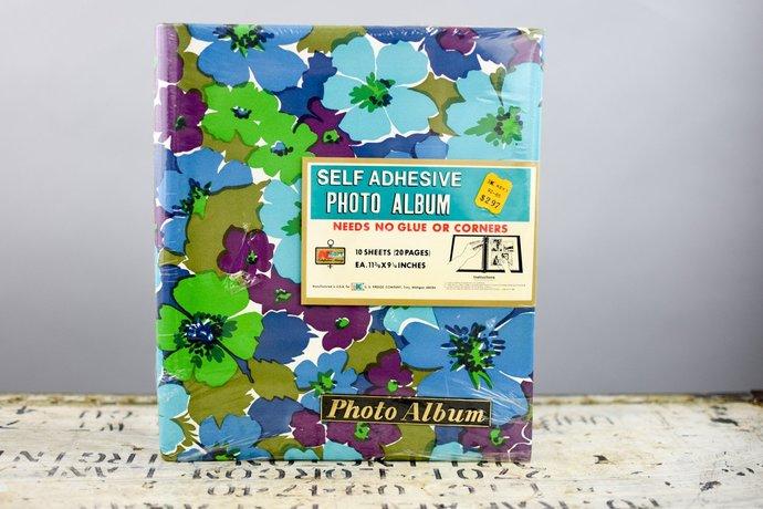 60s Photo Album Vintage, Mod Flower Floral Blue Green Purple Vinyl Fabric