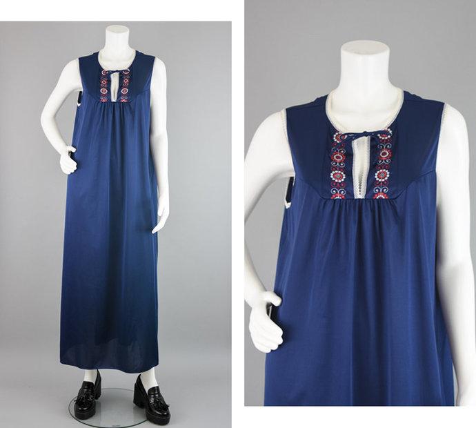 70s Nightgown Vintage, Navy Blue,White & Red Silky Nylon Sleeveless House Dress