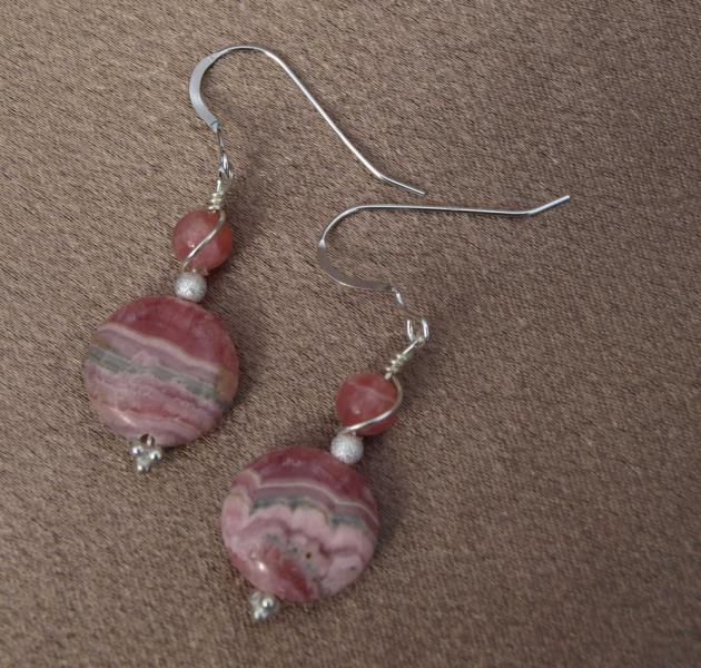 Pink Rhodochrosite Earrings 9023