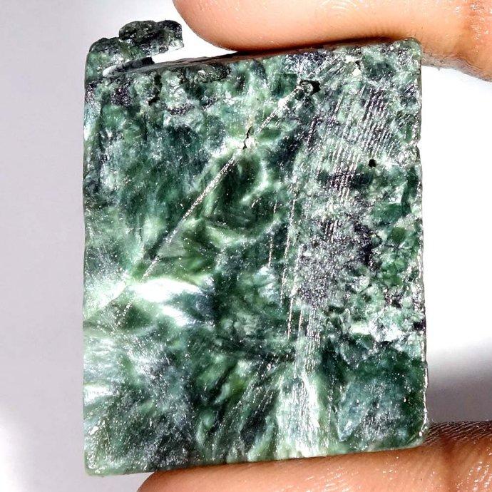 81.45Cts.100% Natural Rare Green SERAPHINITE ROCK ROUGH Slab Spiceman Gemstone