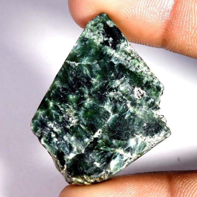43.55Cts.100% Natural Rare Green SERAPHINITE ROCK ROUGH Slab Spiceman Gemstone