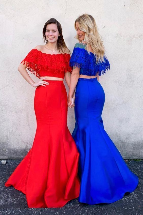 Beautiful Charming Off The Shoulder Mermaid Two Piece Long Prom Dress,Sexy Party