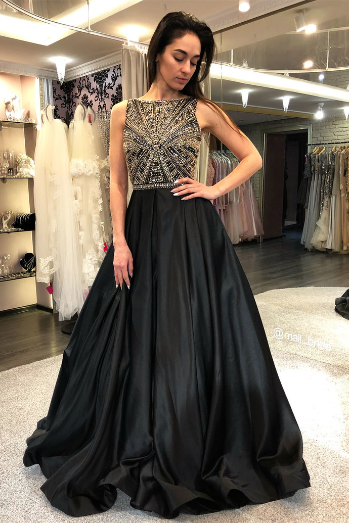 Elegant A-Line Bateau Beading Black Formal Prom Dress,Sexy Party Dress,Formal