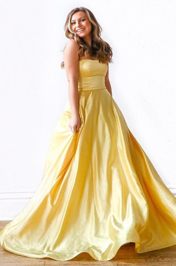Gorgeous Strapless Yellow Long Prom Dress,Sexy Party Dress,Formal Dress,Cheap