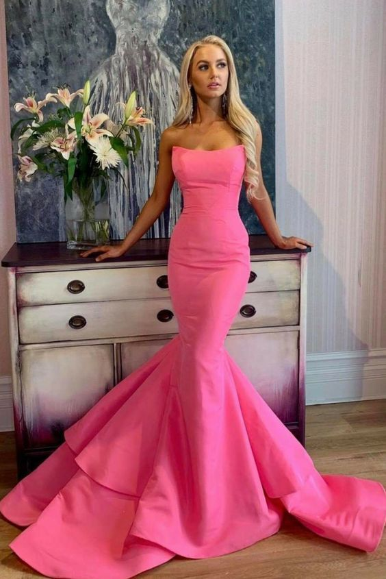 Sexy Mermaid Prom Dress with Unique Strapless Neckline,Sexy Party Dress,Formal