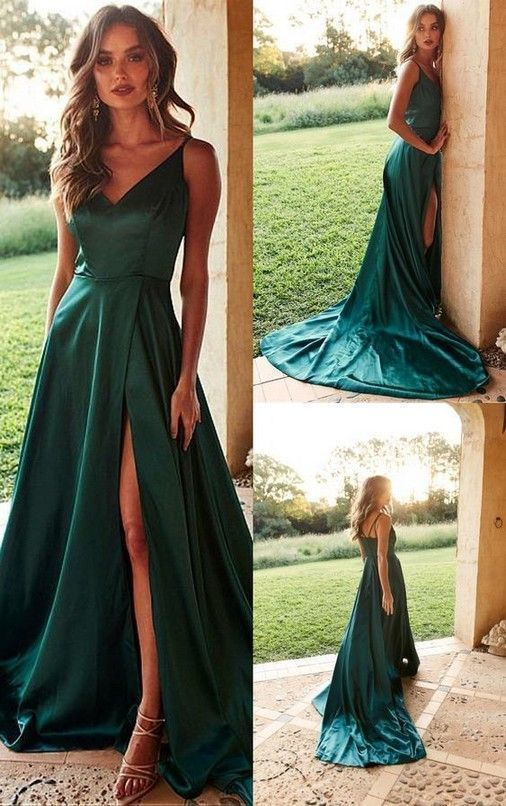 Gorgeous V Neck Hunter Green Long Prom Dress,Sexy Party Dress,Formal Dress,Cheap