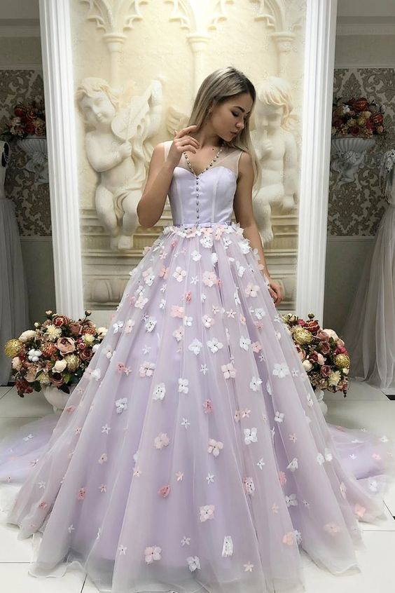 Lavender Ball Gown,Princess Quinceanera Dress with Flowers,Long Prom Dress,