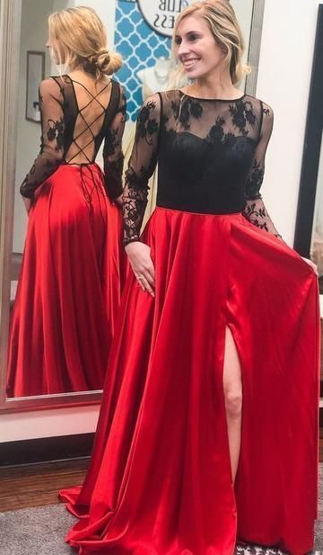 Long Sleeve Slit-Front Red Evening Dress, Sexy Prom Dress with Black Lace