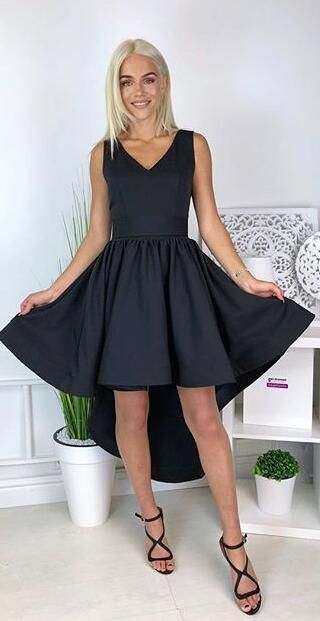 Simple Black High Low Party Dress,Cheap Homecoming Dress,Sexy Party Dress,Formal