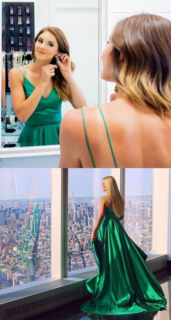 Simple Green Long Prom Dress with Slit,Sexy Party Dress,Formal Dress,Cheap Prom