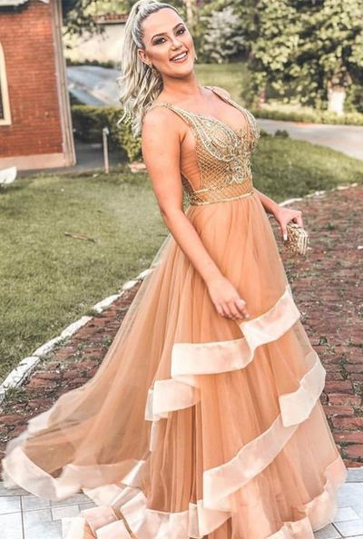 Charming Deep V neck Tulle Prom Dress,Sexy Party Dress,Formal Dress,Cheap Prom
