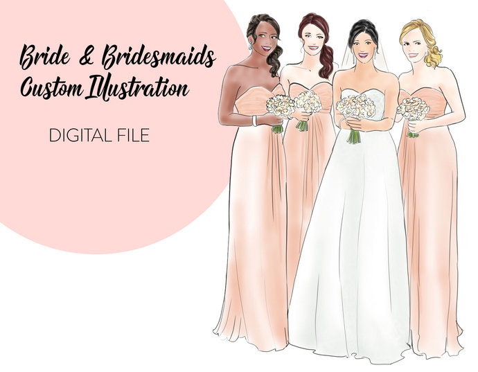 Bride & Bridesmaids custom illustration, printable art, instant download,