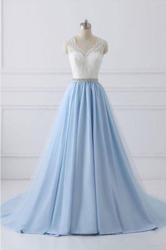 A Line V-neck Lace Appliques Bodice Long Prom Dresses,Elegant Prom Dress with