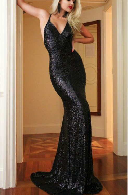 Long Sexy Black Mermaid V-Neck Sleeveless Backless Sequins Prom Dresses 2019