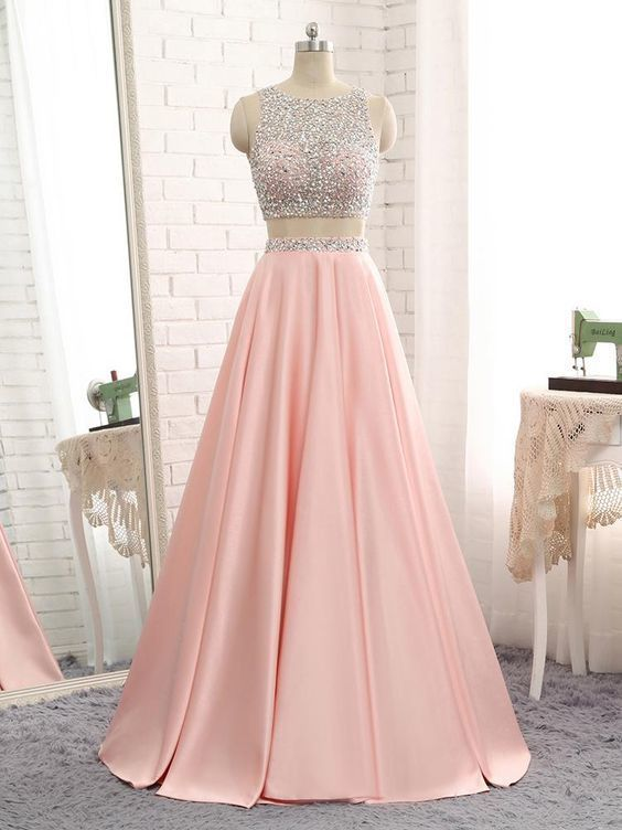 Pink Satin Two Piece Backless Prom Dress RE00261