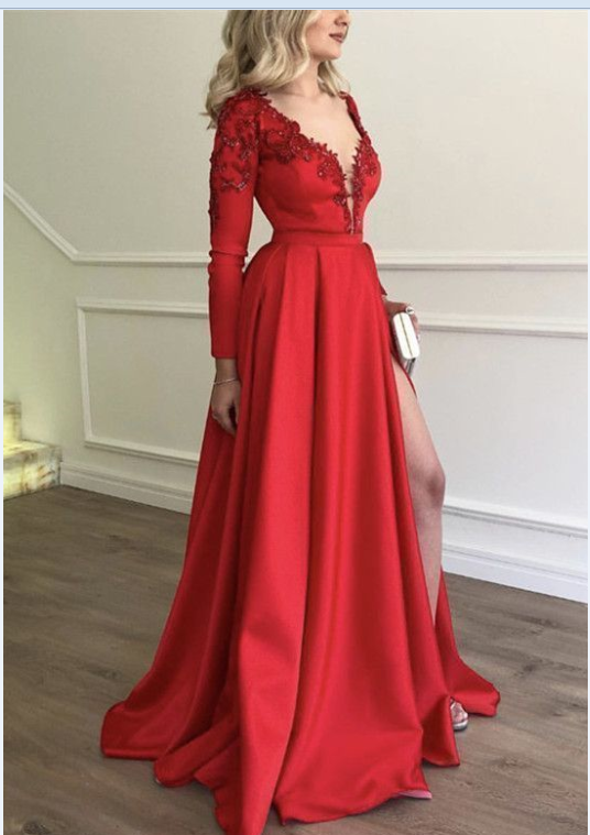 Stylish Embroidery Beaded Long Sleeves Satin Evening Dresses RE00264