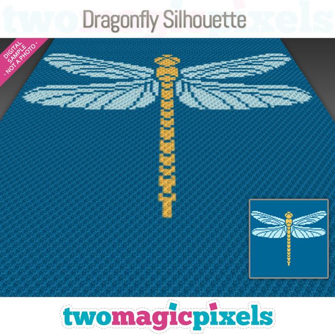 Dragonfly Silhouette crochet graph (C2C, Mini C2C, SC, HDC, DC, TSS), cross