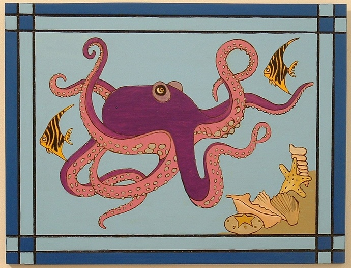Pyrography, Wood Wall Art, Octopus, Framed and Hand Painted