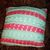 "Pink and Aqua Crochet Pillow Cover with Buttons, Handmade, 14"" Pillow Cover,"