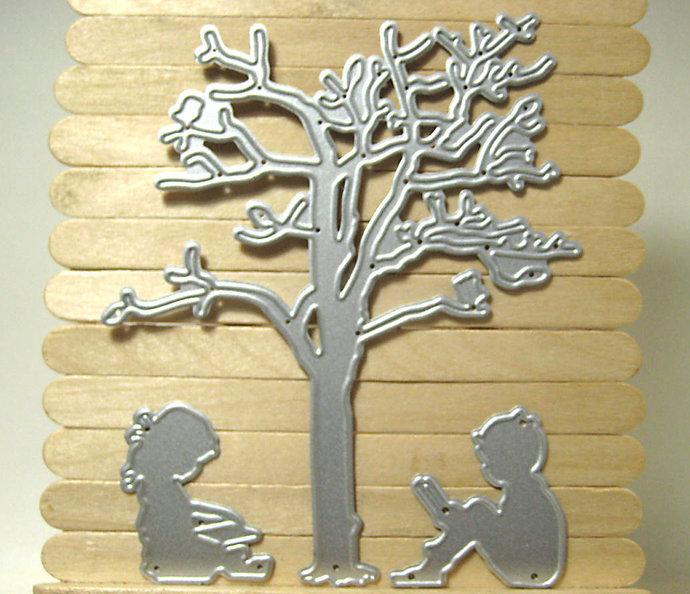 Kids Reading Under Tree Metal Cutting Die Set
