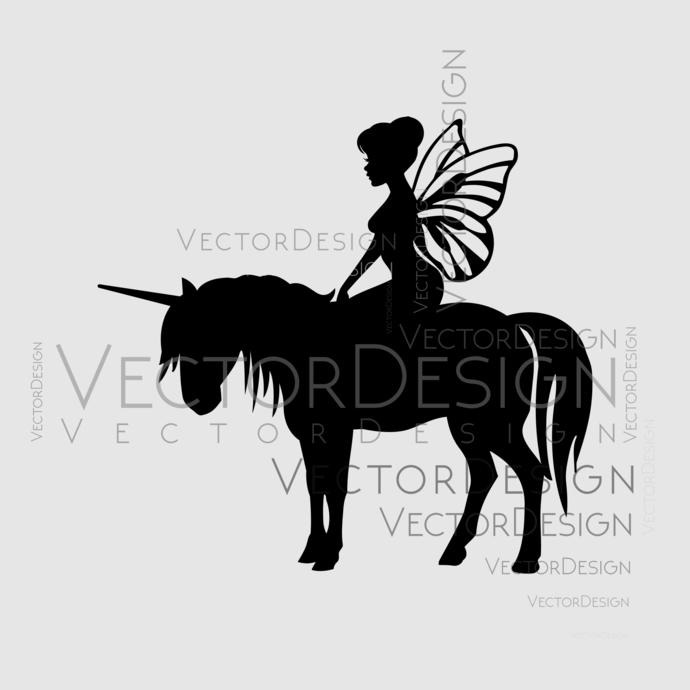Fairy And Her Unicorn Graphics Svg Dxf Eps Vectordesign