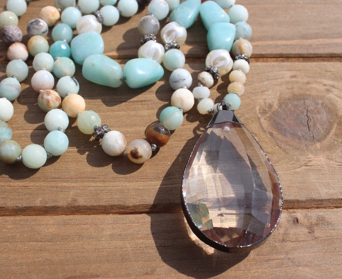 Long Beaded Amazonite Necklace with Crystal Pendant Bohemian Hand knot by