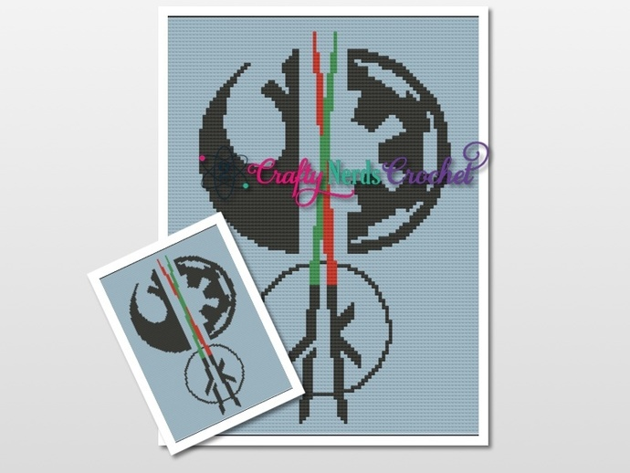 Crossed Lightsabers Pattern Graph With Mini C2C Written
