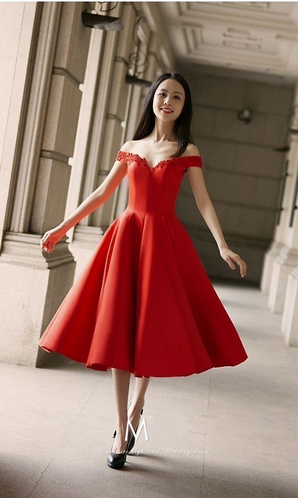 Charming Red Off Shoulder Homecoming Dress, Sexy Prom Dresses, Red Graduation