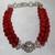 Red Coral Silver Rhinestone Statement Bracelet, Tibetan Silver Jewelry,