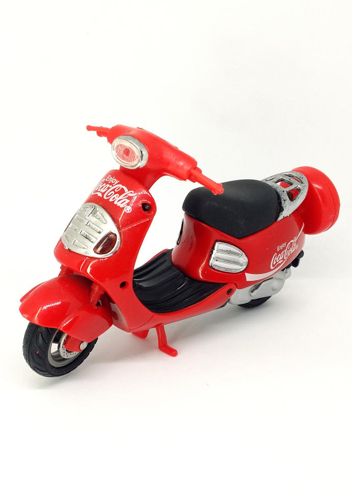 Coca Cola Red Motorcycle Plastic Diecast Toy Figure 1990s