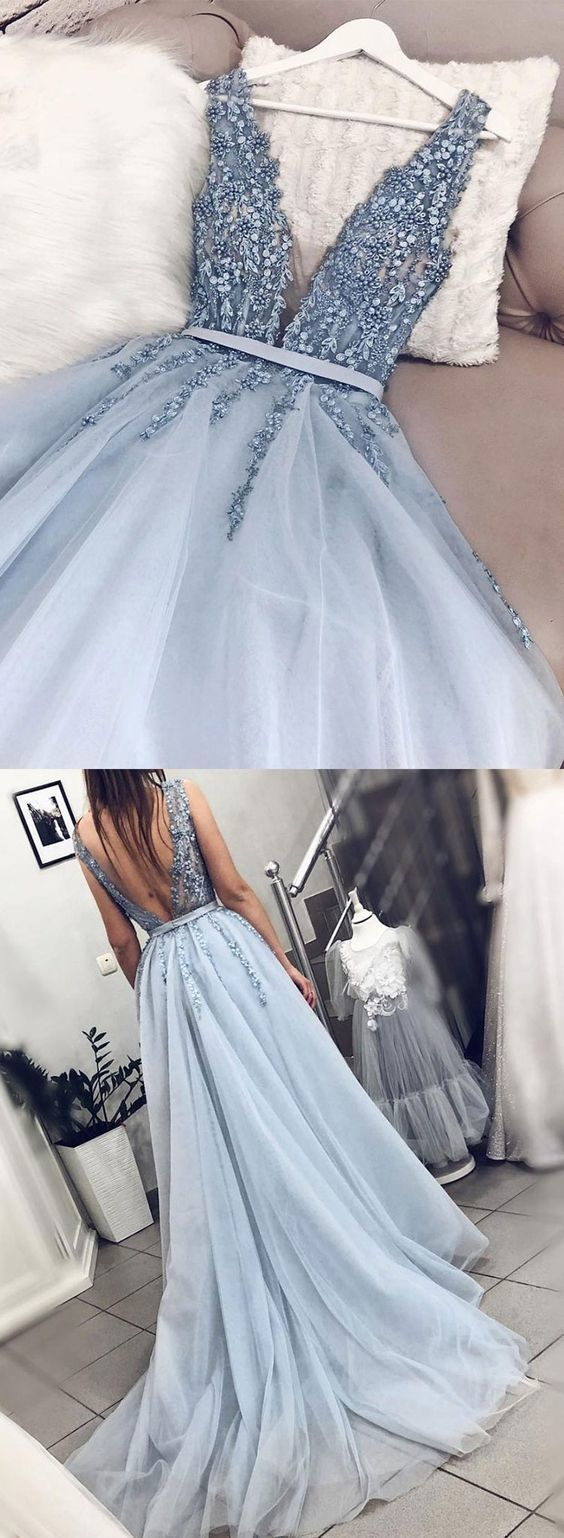 Blue V neck Tulle Beads Long Prom Dress, Appliques Evening Dress