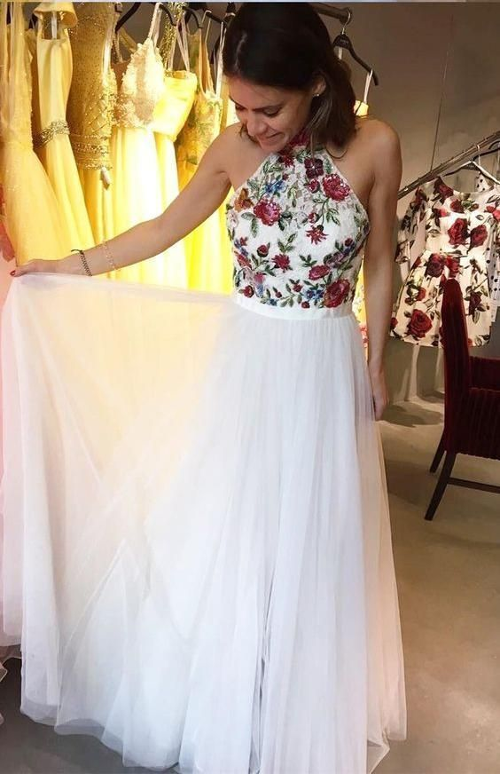Halter White Tulle Long Prom Dress, Evening Dress, Sexy Prom Dresses