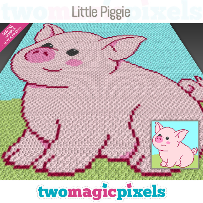 Little Piggie crochet graph (C2C, Mini C2C, SC, HDC, DC, TSS), cross stitch;