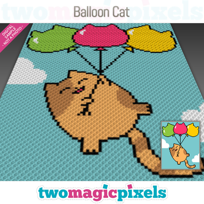 Balloon Cat crochet graph (C2C, Mini C2C, SC, HDC, DC, TSS), cross stitch;