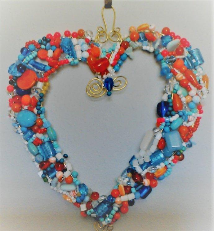 Heart SunCatcher- Beautifully beaded wire heart- Vibrant Colors