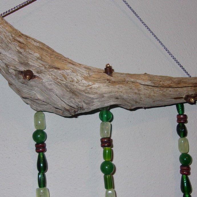 Windchime- Green Jade, driftwood and wood beads