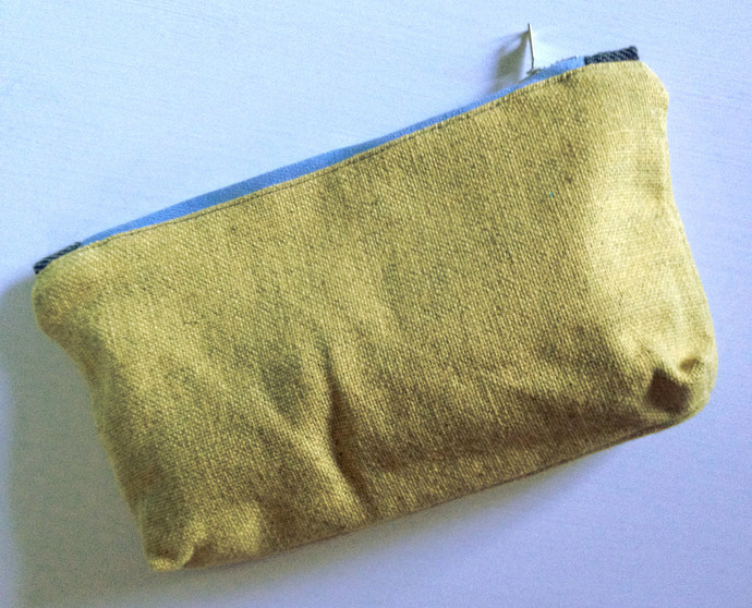Golden Yellow Medium zipper purse for makeup, pencils, or other things - Linen