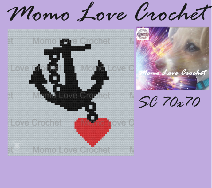 Anchor Heart Pillow SC 70x70