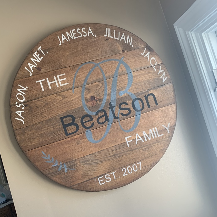 "30"" Round Family Sign"