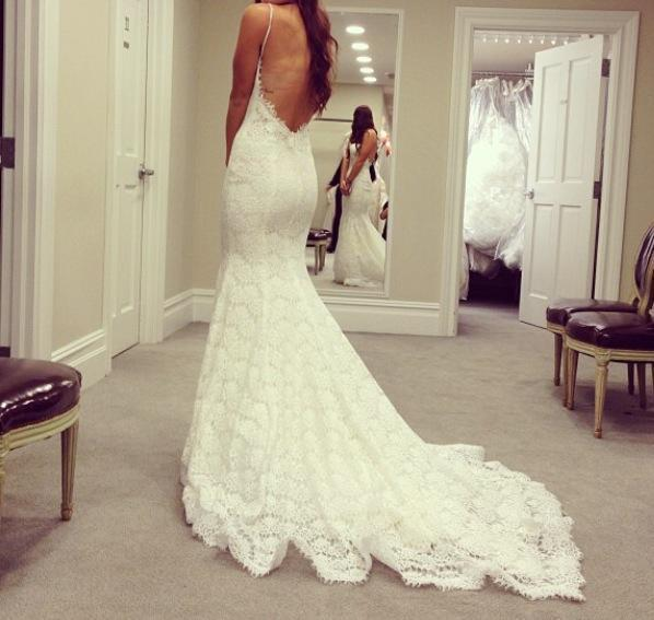 Backless Spaghetti Straps Mermaid Lace Wedding Dress Sweetheart Bridal Gowns
