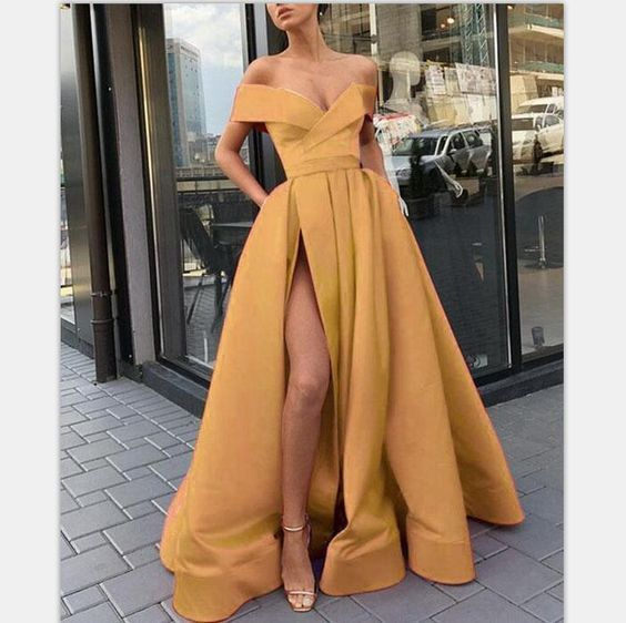 Elegant Gold Long Women Formal Prom