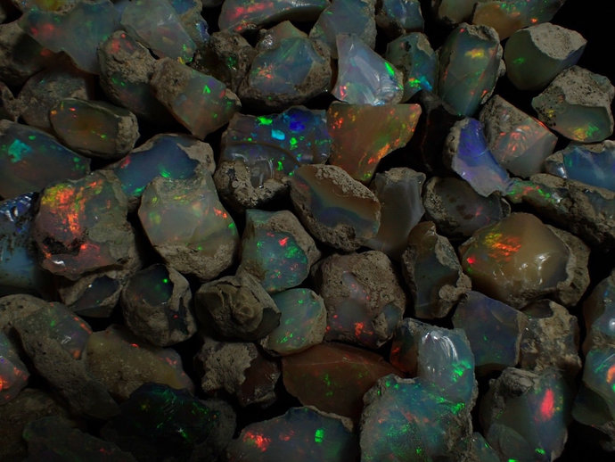300 Carats of Ethiopian Welo Opal Rough GOOD PLAY Of Color ~ ~ ~ ~ Opal 101