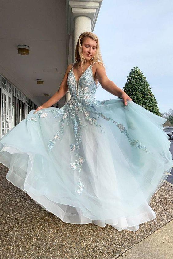 Spaghetti Straps Floral Beading Long Mint Green Prom Dress D8421