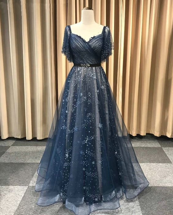 Gorgeous Deep Blue Lace Long A Line Prom Dress, Evening Dress With Sleeves T8754
