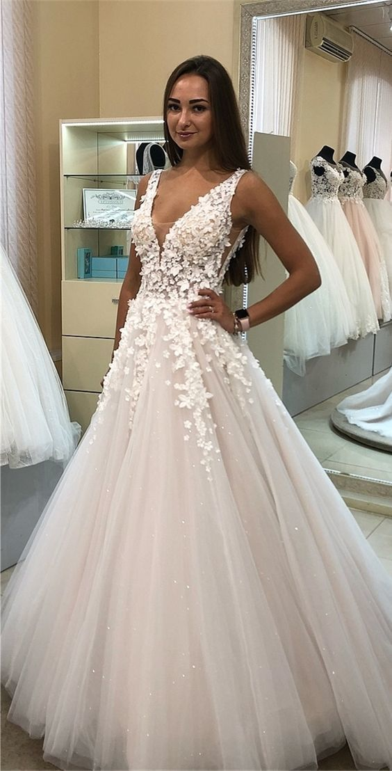 white tulle long wedding dresses, vintage a line bridal gowns with appliques