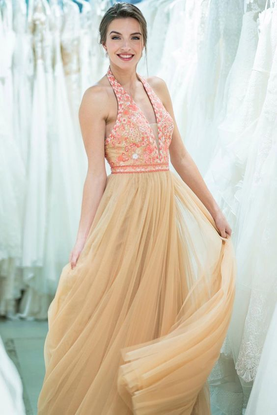 Halter Floral Long Tulle Prom Dress with Beading Belt E6988