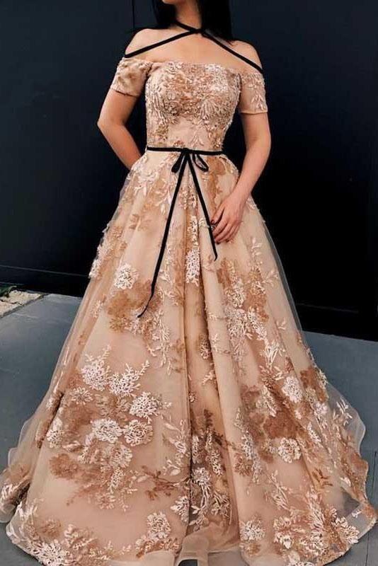 A-line Off The Shoulder Lace Appliques Unique Long Prom Dresses Q6851