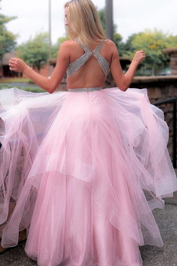 Princess pink Tulle Long Prom Dress with Cross Back T6985