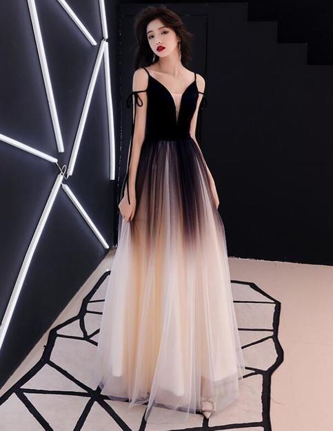 A Line Princess Evening Dresses, Sleeveless Spaghetti Straps Gradient Dress,Deep