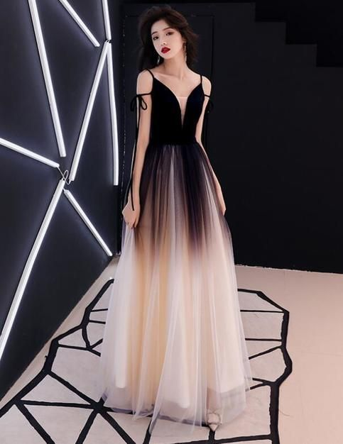 A Line Princess Evening Dresses, Sleeveless Spaghetti Straps Gradient Dress,Deep